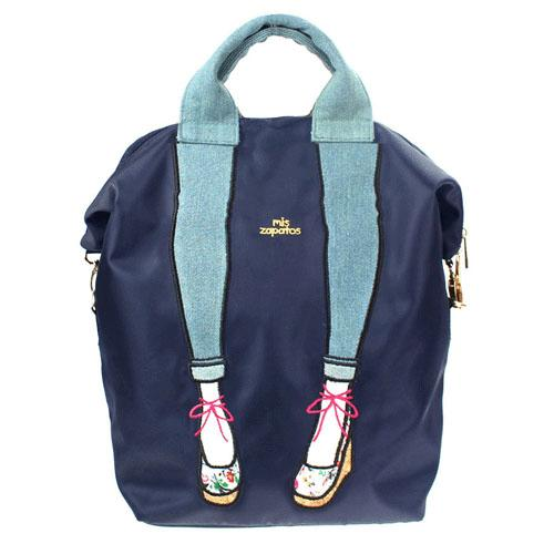 mis zapatos Nylon Skinny 3 Way Backpack - Navy
