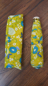 a.s.s.a Folding Umbrella with storage bag - Yellow Flower