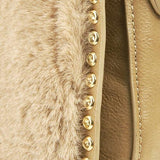 Faux Fur Shoulder Bag Beige