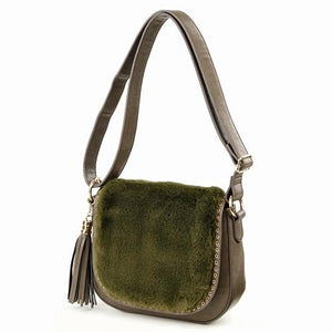 Faux Fur Shoulder Bag Green