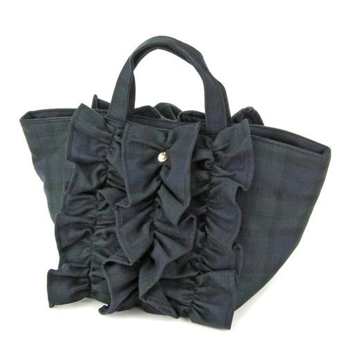 Wool furill horizontal tote bag - Green check