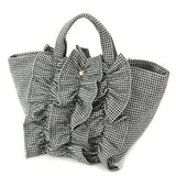 Wool furill horizontal tote bag - Thousand birds