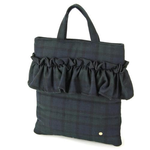 Wool furill vertical tote bag - Green check