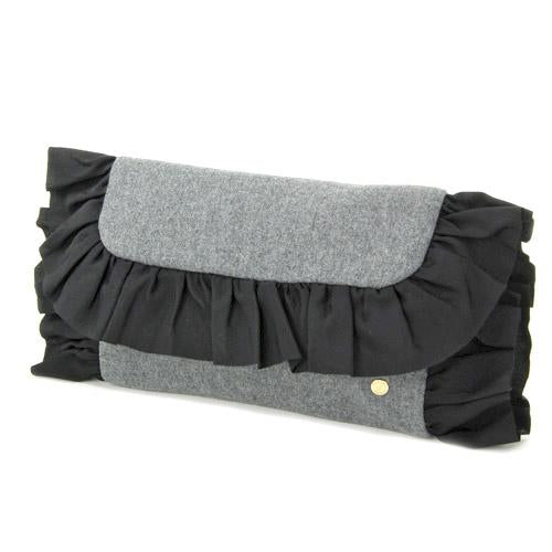 Wool fur clutch - Charcoal grey