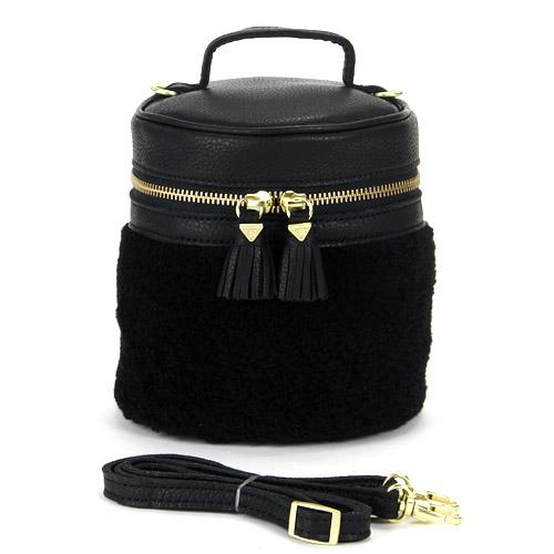 Cylindrical shoulder bag - Black