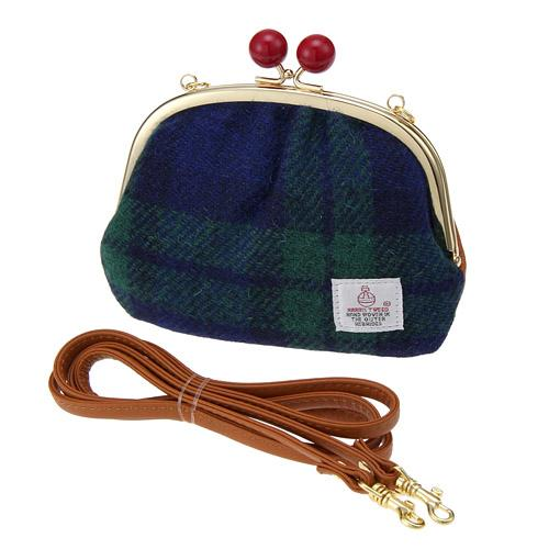 Japan made by Harris Tweed 2WAY pouch / clutch shoulder bag - Navy blue