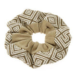 Beige Geometric Hair Scrunchies