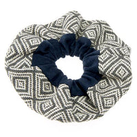 Blue Geometric Hair Scrunchies