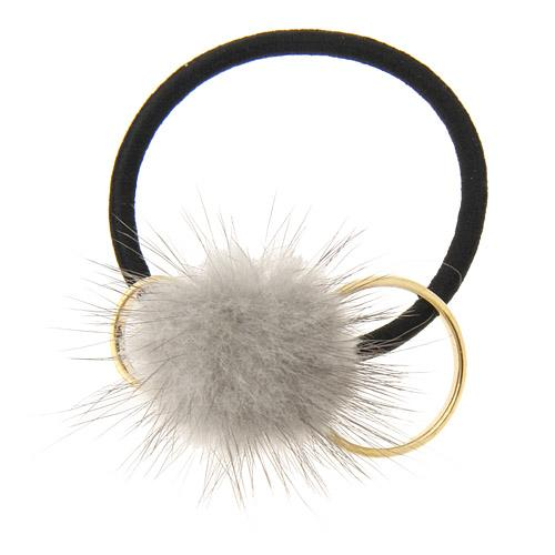 Fur Ball Elastic Hair Ties - Grey
