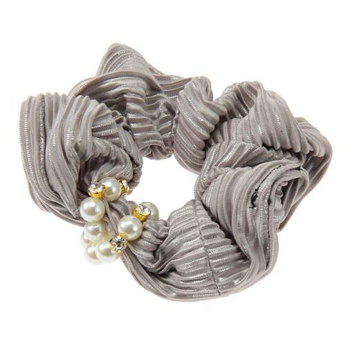 Beige Silver Lame Hair Scrunchies with Pearl