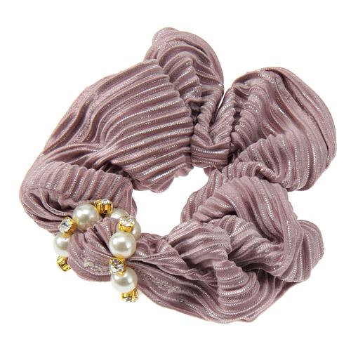 Pink Silver Lame Hair Scrunchies with Pearl