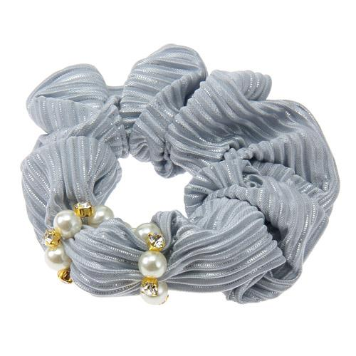 Blue Silver Lame Hair Scrunchies with Pearl