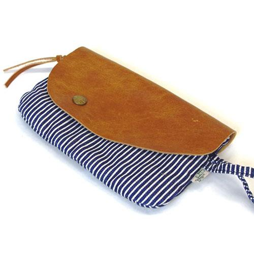 Denim Leather pouch - Stripe