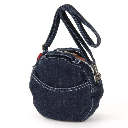 Round Denim Shoulder Bag - Dark blue