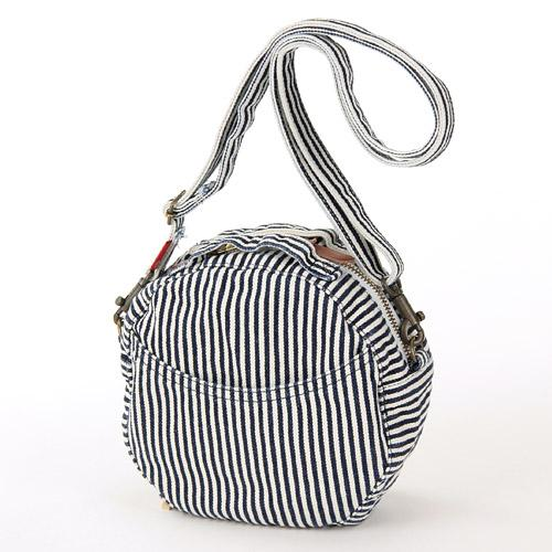 Round Denim Shoulder Bag - Stripe