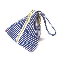 Denim triangle pouch - White stripe