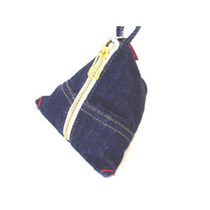 Denim triangle pouch - Deep blue