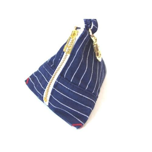 Denim triangle pouch - Blue
