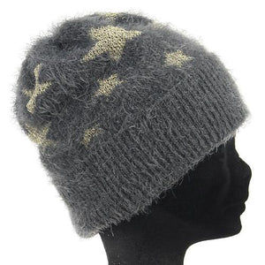 Star Pattern Knit Cap - Dark grey