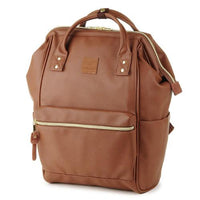 ANELLO Japan Synthetic Leather Mouthpiece Backpack - Brown AT-B1211