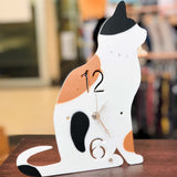 T's Collection Handmade Polyresin Silhouette Sitting Cat Clock CL-67