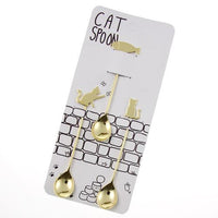 Cat spoons set - GOLD Cat x fish