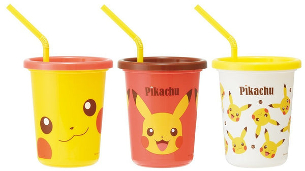 Pikachu Tumbler Set with Straw and Lid 320ml / Set of 3 SIH3ST