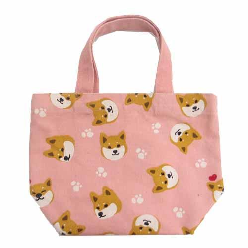 Shiba Inu mini tote bag - head pattern pink