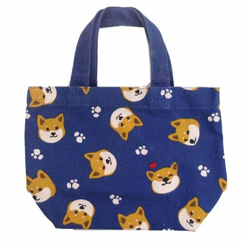 Shiba Inu mini tote bag - head pattern blue