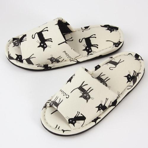 Black Cat Pattern Slipper - White