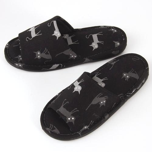 Black Cat Pattern Slipper - Black