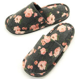 Rose pattern sewing slipper - Black