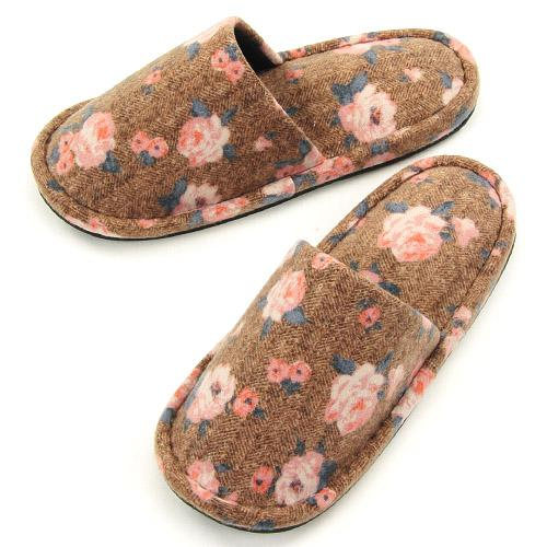 Rose pattern sewing slipper - Brown