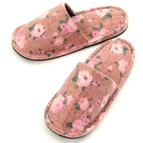 Rose pattern sewing slipper - Pink