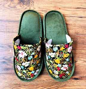 Green Floral Slipper by YOSHICHIKA
