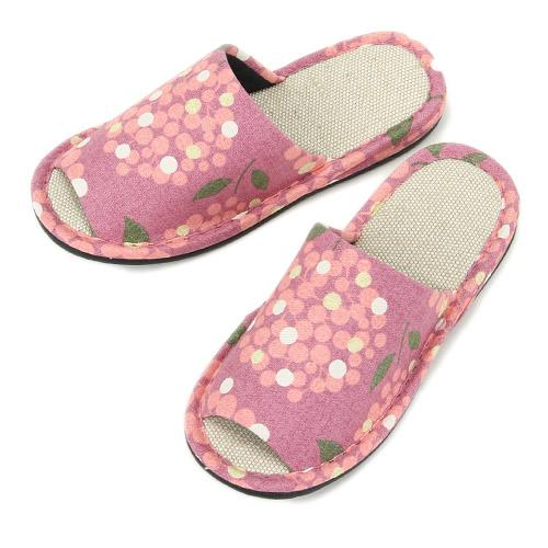 Dotted Flower Pattern Slippers - Pink