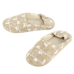 Line cat pattern slipper - Beige
