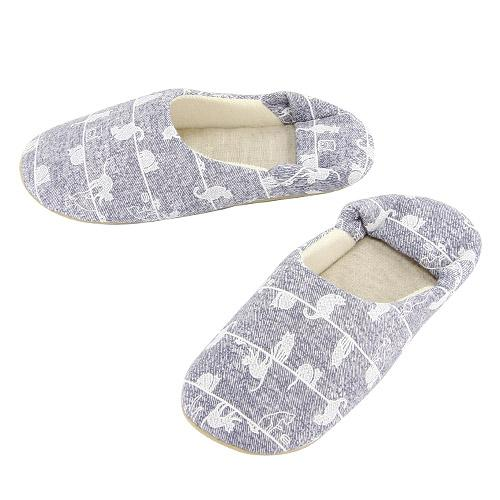 Line cat pattern slipper - Sky blue