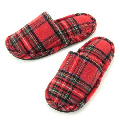 checkered pattern slipper - Red