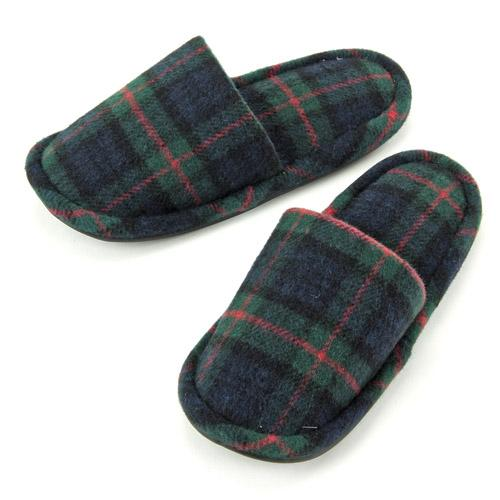 checkered pattern slipper - Red x green