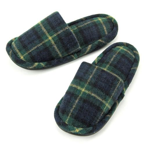 checkered pattern slipper - Yellow x green