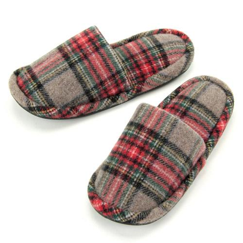 checkered pattern slipper - Brown
