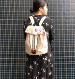 mis zapatos Floral Skirt Nylon Backpack - Beige