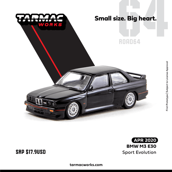 Tarmac Works 1/64 ROAD64 BMW M3 E30 Sport Evolution T64-009-BLK