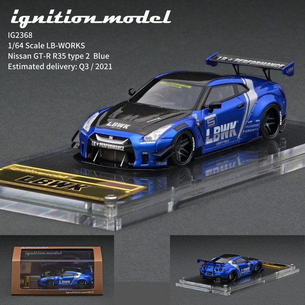 Ignition Model 1/64 HIGH-END RESIN MODEL LB-WORKS Nissan GT-R R35 type 2 Blue IG2368