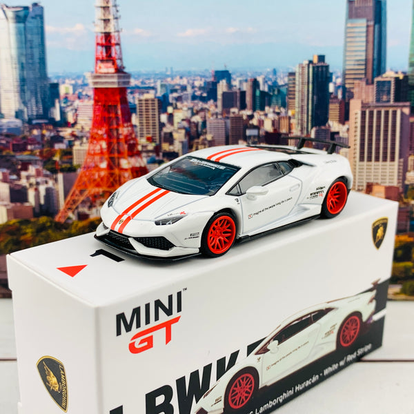 MINI GT 1/64 LB WORKS Lamborghini Huracan Version 1 White w/ Red Stripe LHD MGT00148-L