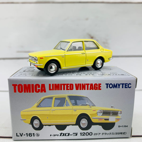 Tomica Limited Vintage 1/64 Toyota Corolla 1200 Two Door Deluxe Yellow (1969) LV-161b