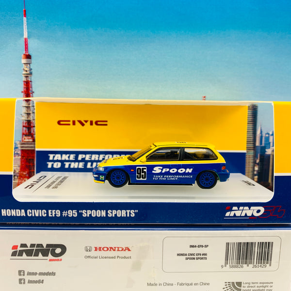 "INNO64 1/64 HONDA CIVIC EF9 #95 Tuned By ""SPOON SPORTS"" IN64-EF9-SP"