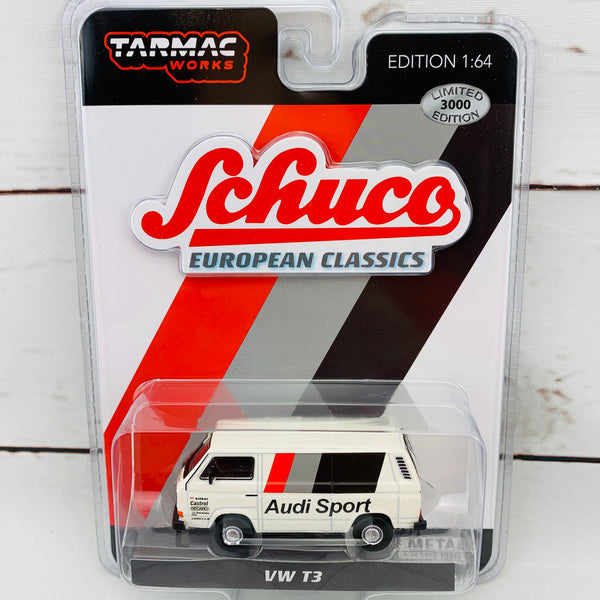 "Tarmac Works x Schuco Collaboration Model 1/64 Volkswagen T3 "" Audi Sport "" Blister Clamshell Packed T64S-001-AS1 452025400"
