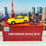 BM Creations JUNIOR 1/64 Nissan Silvia S15 Yellow RHD with Extra Wheels, Lowering Parts and Container Display 64DM64009
